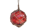 Handcrafted Model Ships 12 Red Glass - Old Red Japanese Glass Ball Fishing Float With Brown Netting Decoration 12