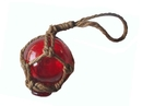 Handcrafted Model Ships 2 Red Glass - Old Red Japanese Glass Ball Fishing Float With Brown Netting Decoration 2