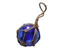 Handcrafted Model Ships 3 Blue Glass - Old Blue Japanese Glass Ball Fishing Float With Brown Netting Decoration 3
