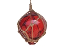 Handcrafted Model Ships 3 Red Glass - Old Red Japanese Glass Ball Fishing Float With Brown Netting Decoration 3