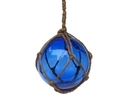 Handcrafted Model Ships 4 Blue Glass - Old Blue Japanese Glass Ball Fishing Float With Brown Netting Decoration 4