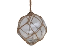 Handcrafted Model Ships 4 Clear Glass - Old Clear Japanese Glass Ball Fishing Float With Brown Netting Decoration 4