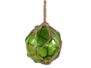 Handcrafted Model Ships 4 Green Glass - Old Green Japanese Glass Ball Fishing Float With Brown Netting Decoration 4