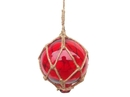Handcrafted Model Ships 4 Red Glass - Old Red Japanese Glass Ball Fishing Float With Brown Netting Decoration 4