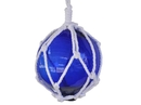 Handcrafted Model Ships 6 Blue Glass - NEW Blue Japanese Glass Ball Fishing Float With White Netting Decoration 6