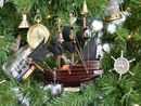 Handcrafted Model Ships Adventure Galley-7-XMASS Wooden Captain Kidd's Adventure Galley Model Pirate Ship Christmas Tree Ornament