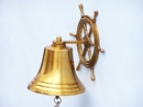 Handcrafted Model Ships BL-2026-2-BR Brass Hanging Ship Wheel Bell 8