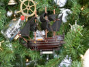 Handcrafted Model Ships Caribbean Pirate 7-XMASS Wooden Caribbean Pirate Ship Model Christmas Tree Ornament