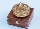 Handcrafted Model Ships CO-0564 Solid Brass Round Sundial Compass w/ Rosewood Box 6