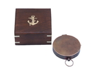 Handcrafted Model Ships CO-0589-AC Antique Copper Gentlemen'S Compass With Rosewood Box 4&Quot;