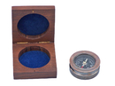 Handcrafted Model Ships CO-0607-AC Antique Copper Paperweight Compass with Rosewood Box 3