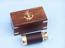 "Handcrafted Model Ships FT-0241 Deluxe Class Scout's Brass - Leather Spyglass Telescope 7"" w/ Rosewood Box"