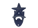 Handcrafted Model Ships G-20-028-DARK-BLUE Rustic Dark Blue Cast Iron Wall Mounted Starfish Bottle Opener 6
