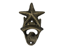Handcrafted Model Ships G-20-028-GOLD Rustic Gold Cast Iron Wall Mounted Starfish Bottle Opener 6