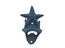 Handcrafted Model Ships G-20-028-LIGHT-BLUE Rustic Light Blue Cast Iron Wall Mounted Starfish Bottle Opener 6
