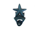Handcrafted Model Ships G-20-028-Seaworn Seaworn Blue Cast Iron Wall Mounted Starfish Bottle Opener 6&Quot;