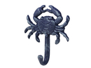 Handcrafted Model Ships G-54-725-DARK-BLUE Rustic Blue Cast Iron Wall Mounted Crab Hook 5
