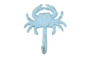 Handcrafted Model Ships G-54-725-Solid-Light-Blue Rustic Light Blue Cast Iron Wall Mounted Crab Hook 5&Quot;