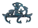 Handcrafted Model Ships G-54-755-Seaworn Seaworn Blue Cast Iron Wall Mounted Mermaid With Dolphin Hooks 9&Quot;