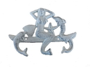 Handcrafted Model Ships G-54-755-W Whitewashed Cast Iron Wall Mounted Mermaid With Dolphin Hooks 9&Quot;