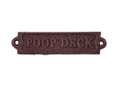 Handcrafted Model Ships G-73-099-RED Rustic Red Cast Iron Poop Deck Sign 6