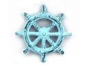 Handcrafted Model Ships K-005-dark blue Dark Blue Whitewashed Cast Iron Ship Wheel Bottle Opener 3.75