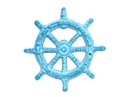 Handcrafted Model Ships K-005-lightblue Light Blue Whitewashed Cast Iron Ship Wheel Bottle Opener 3.75