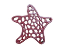 Handcrafted Model Ships K-0056-WW-Red Rustic Red Whitewashed Cast Iron Starfish Trivet 7&Quot;