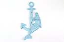 Handcrafted Model Ships K-0125-Dark-Blue Rustic Dark Blue Whitewashed Cast Iron Mermaid Anchor 9&Quot;