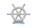 Handcrafted Model Ships K-013-AW Antique White Cast Iron Ship Wheel Door Stopper 9