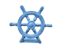 Handcrafted Model Ships K-013-dark blue Dark Blue Whitewashed Cast Iron Ship Wheel Door Stopper 9
