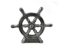 Handcrafted Model Ships K-013-silver Antique Silver Cast Iron Ship Wheel Door Stopper 9
