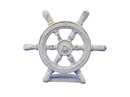 Handcrafted Model Ships K-013-W Whitewashed Cast Iron Ship Wheel Door Stopper 9