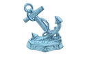 Handcrafted Model Ships K-0136-dark blue Dark Blue Whitewashed Cast Iron Anchor Door Stopper 8