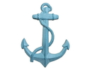 Handcrafted Model Ships K-0137-Dark-Blue Rustic Dark Blue Whitewashed Cast Iron Anchor 17&Quot;