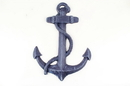 Handcrafted Model Ships K-0137-Solid-Dark-Blue Rustic Dark Blue Cast Iron Anchor 17&Quot;