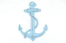 Handcrafted Model Ships K-0137-Solid-Light-Blue Rustic Light Blue Cast Iron Anchor 17&Quot;