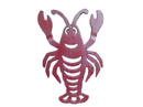 Handcrafted Model Ships K-0145B-WW-Red Rustic Red Whitewashed Cast Iron Lobster Trivet 11&Quot;