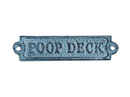 Handcrafted Model Ships K-0164-light-blue Rustic Light Blue Whitewashed Cast Iron Poop Deck Sign 6