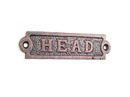 Handcrafted Model Ships K-0164B-RC Rustic Copper Cast Iron Head Sign 6&Quot;