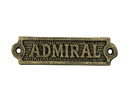 Handcrafted Model Ships k-0164D-gold Antique Gold Cast Iron Admiral Sign 6