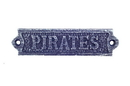 Handcrafted Model Ships K-0164F-Dark-Blue Rustic Dark Blue Whitewashed Cast Iron Pirates Sign 6