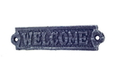 Handcrafted Model Ships K-0164G-Dark-Blue Rustic Dark Blue Whitewashed Cast Iron Welcome Sign 6