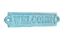 Handcrafted Model Ships K-0164G-Light-Blue Rustic Light Blue Whitewashed Cast Iron Welcome Sign 6