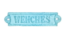 Handcrafted Model Ships K-0164H-Light-Blue Rustic Light Blue Whitewashed Cast Iron Wenches Sign 6