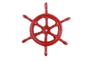 Handcrafted Model Ships K-0177-red Rustic Red Cast Iron Ship Wheel Trivet 6
