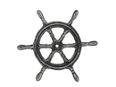 Handcrafted Model Ships K-0177-silver Antique Silver Cast Iron Ship Wheel Trivet 6