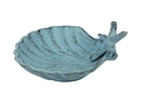 Handcrafted Model Ships K-019-dark blue Dark Blue Whitewashed Cast Iron Shell With Starfish Decorative Bowl 6