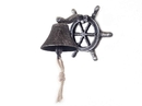 Handcrafted Model Ships K-0224-silver Antique Silver Cast Iron Hanging Ship Wheel Bell 7