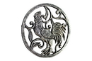 Handcrafted Model Ships K-0239-Silver Rustic Silver Cast Iron Rooster Trivet 8&Quot;